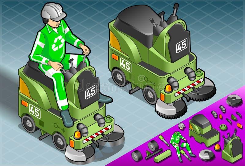 Равновеликая мини машина уборщика с человеком на работе бесплатная иллюстрация