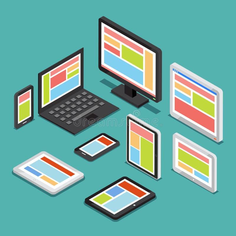 Равновеликая отзывчивая конструктивная схема веб-дизайна 3D с различными экранами и электронными устройствами иллюстрация вектора