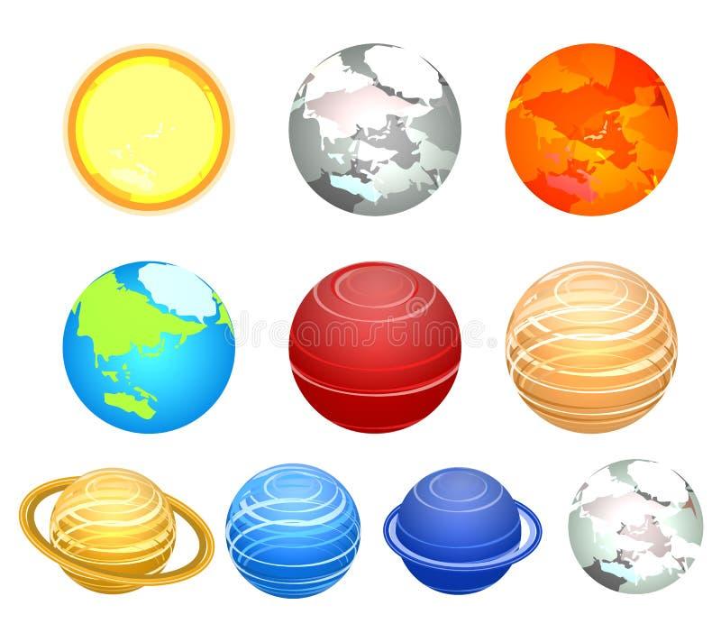 Равновеликая плоская солнечная система 3D показывая планеты вокруг солнца иллюстрация вектора