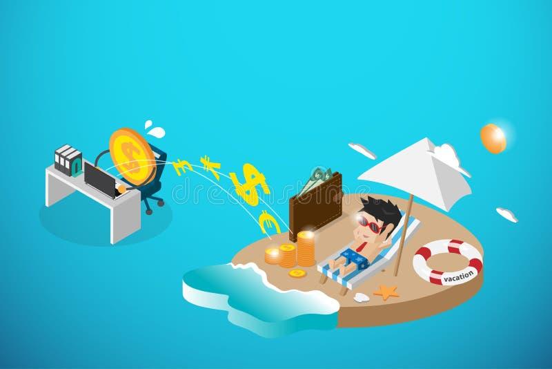 Равновеликая счастливая деятельность бизнесмена и денег, пассивный доход и концепция дела бесплатная иллюстрация
