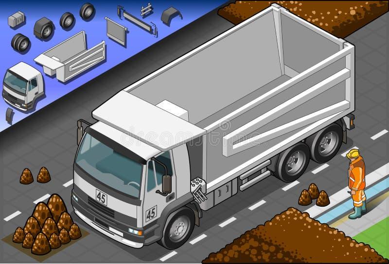 Равновеликая тележка контейнера в вид спереди иллюстрация штока