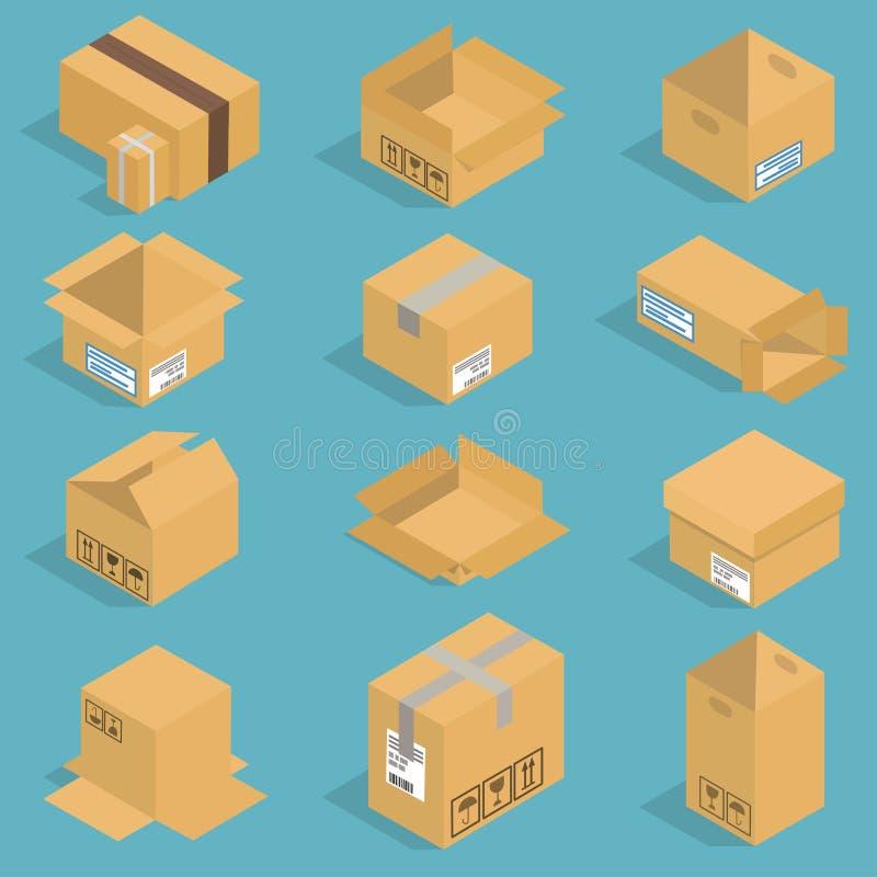 Равновеликая moving иллюстрация вектора коробки иллюстрация штока