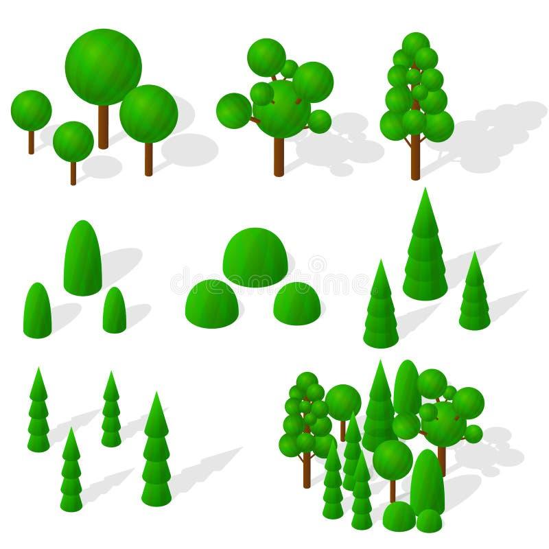 Равновеликие деревья, ели и кустарники Зеленая вегетация иллюстрация вектора