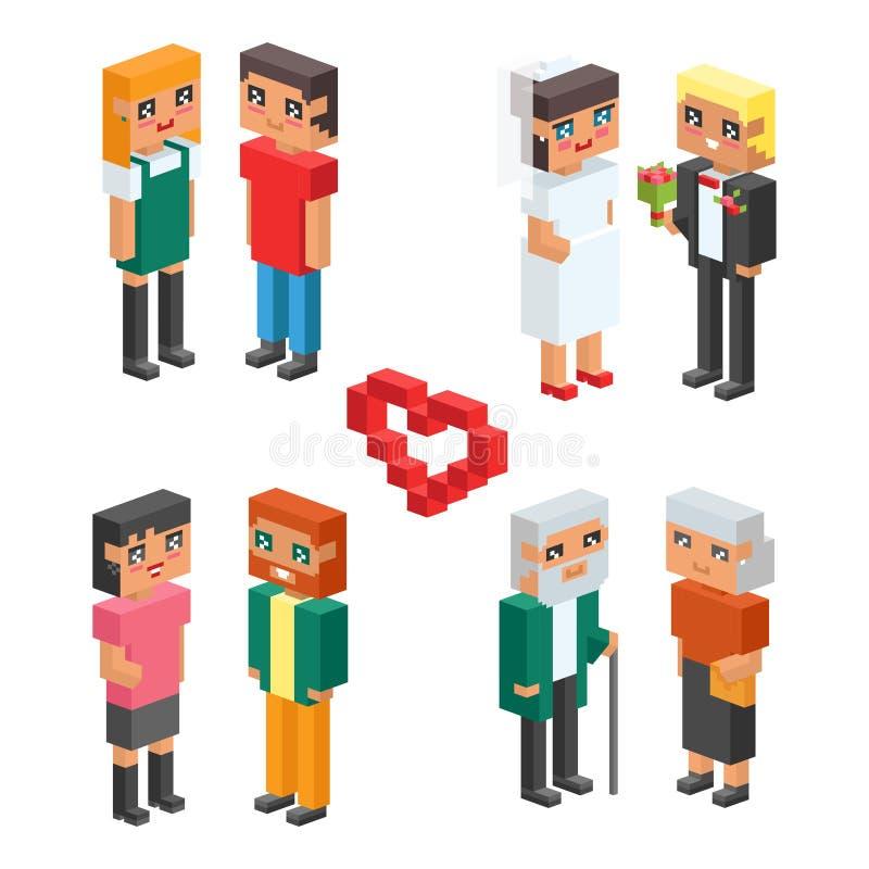 равновеликие дети пар семьи 3d ягнятся значки концепции людей плоские flirting воспитание свадьбы даты влюбленности первое совмес иллюстрация штока
