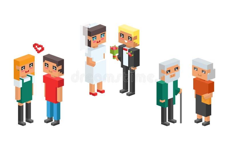 равновеликие дети пар семьи 3d ягнятся значки концепции людей плоские flirting воспитание свадьбы даты влюбленности первое совмес иллюстрация вектора