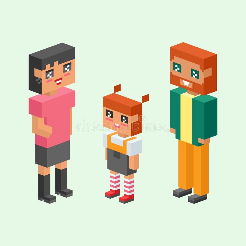 равновеликие дети пар семьи 3d ягнятся концепция людей плоские значки flirting воспитание даты влюбленности первое совместно vect иллюстрация штока
