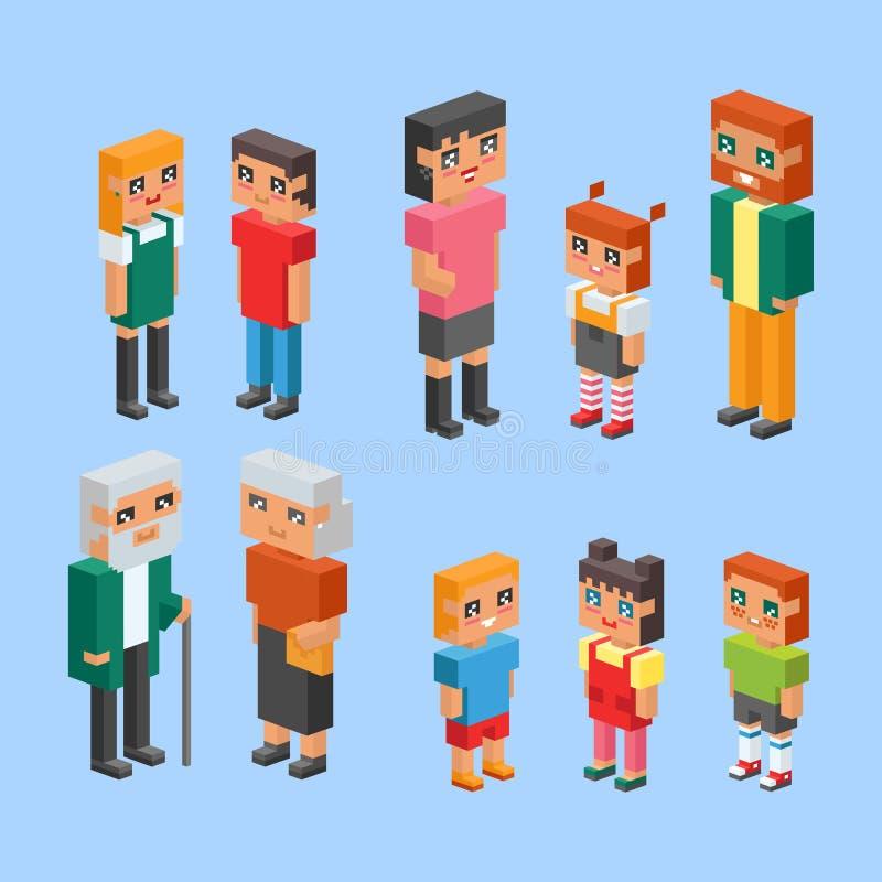 равновеликие дети пар семьи 3d ягнятся концепция людей плоские значки flirting воспитание даты влюбленности первое совместно vect иллюстрация вектора