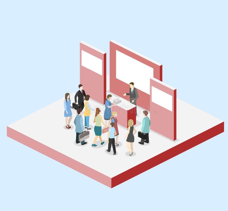 Равновеликие плоские выставка концепции 3D или стойка продвижения иллюстрация штока