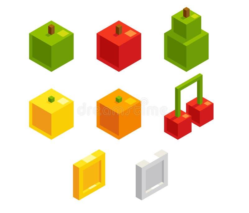 Равновеликие 8 плодоовощи и монеток пиксела бита иллюстрация вектора