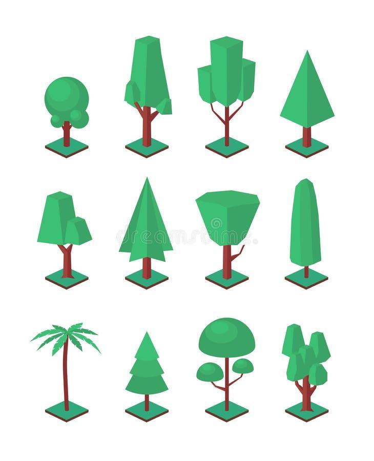 Равновеликие установленные деревья Объекты вектора для набора конструкции ландшафта Простое собрание элементов природы формы 3d иллюстрация вектора