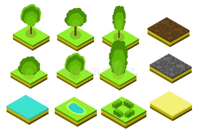Равновеликие элементы деревьев вектора для дизайна ландшафта иллюстрация вектора