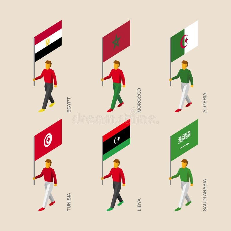 Равновеликие люди с флагами Египтом, Ливией, Саудовской Аравией, Тунис, бесплатная иллюстрация