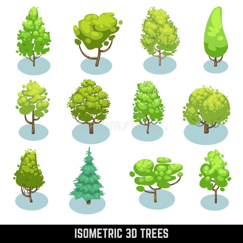 Равновеликие 3D деревья, элементы ландшафта вектор комплекта сердец шаржа приполюсный иллюстрация штока