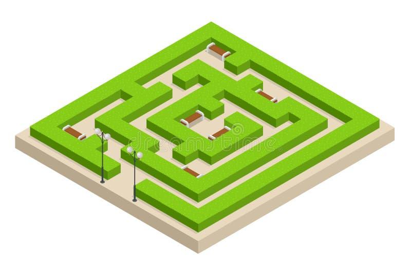 Равновеликий лабиринт зеленого растения Город, парк и внешние заводы Прямоугольный парк лабиринт сделанный кустов с стендами иллюстрация вектора