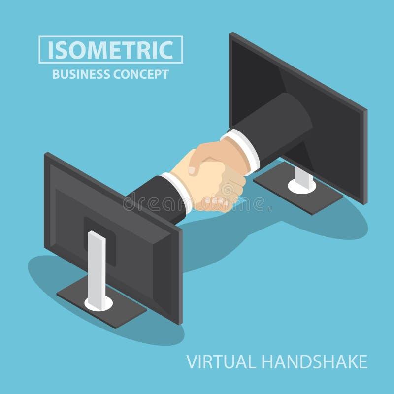 Равновеликий бизнесмен вручает достигать вне от экрана монитора к иллюстрация штока