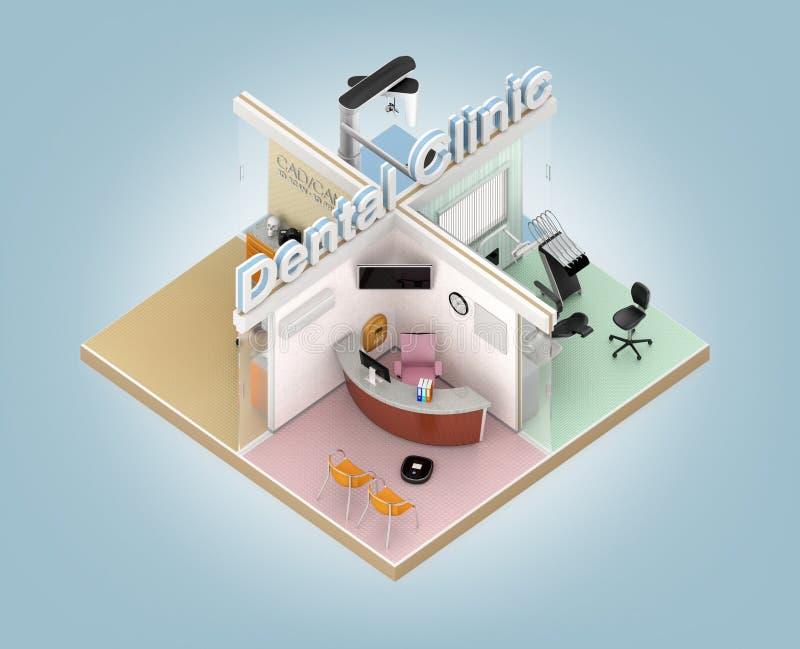 Равновеликий взгляд зубоврачебного интерьера клиники иллюстрация штока