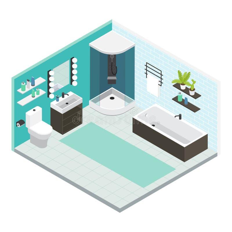 Равновеликий внутренний состав ванной комнаты иллюстрация вектора