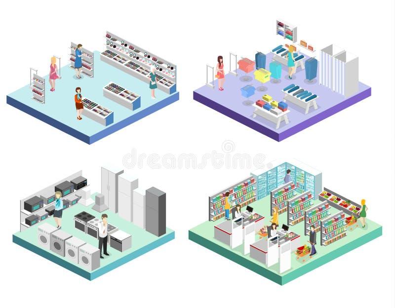 Равновеликий внутренний торговый центр, бакалея, компьютер, домочадец, магазин оборудования бесплатная иллюстрация