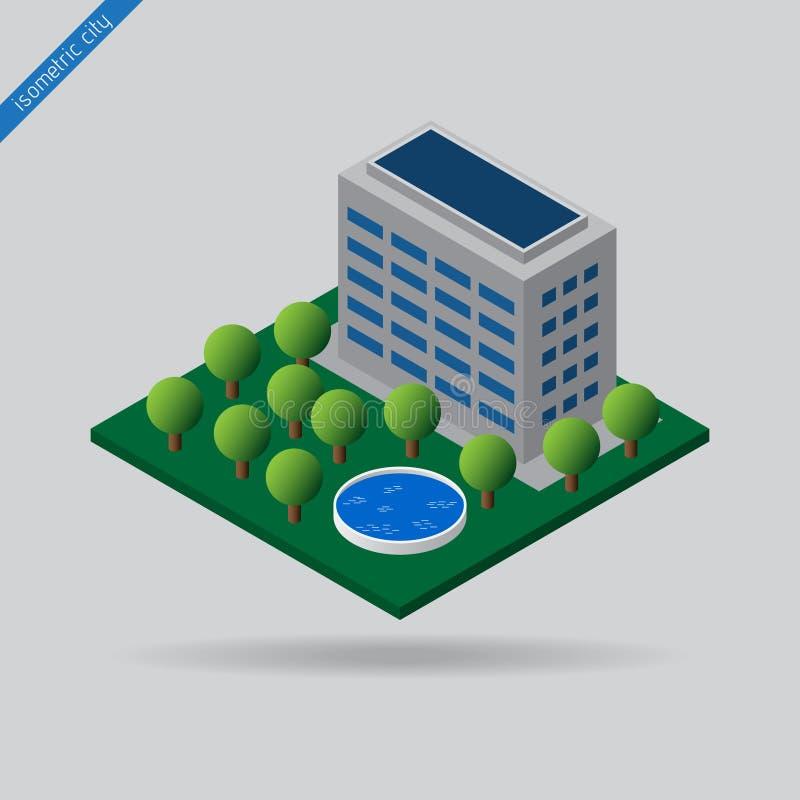 Равновеликий город - деревья, бассейн и здание иллюстрация штока