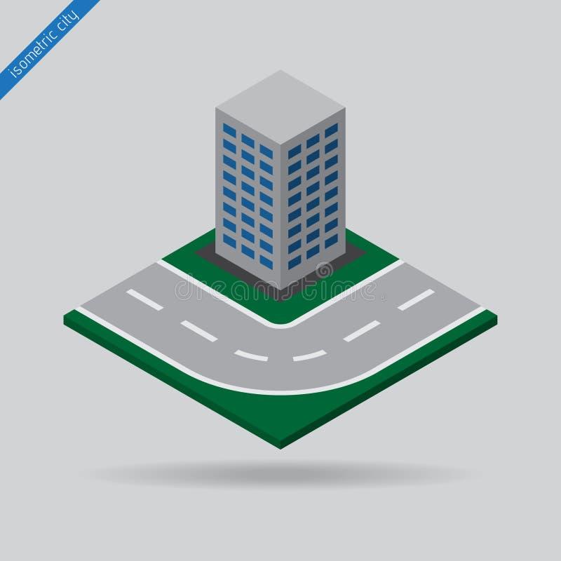 Равновеликий город - дорога и здание иллюстрация вектора