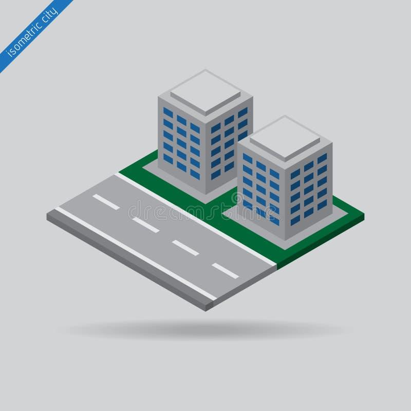 Равновеликий город - дорога и 2 здания бесплатная иллюстрация