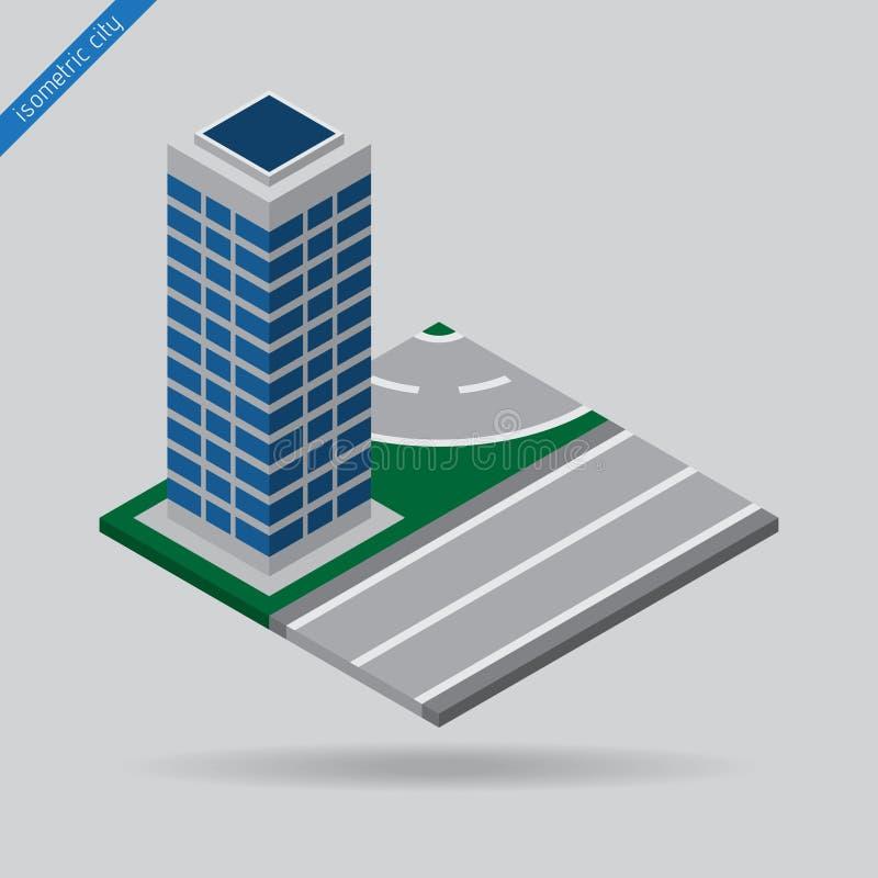 Равновеликий город - дорога с небоскребом иллюстрация штока
