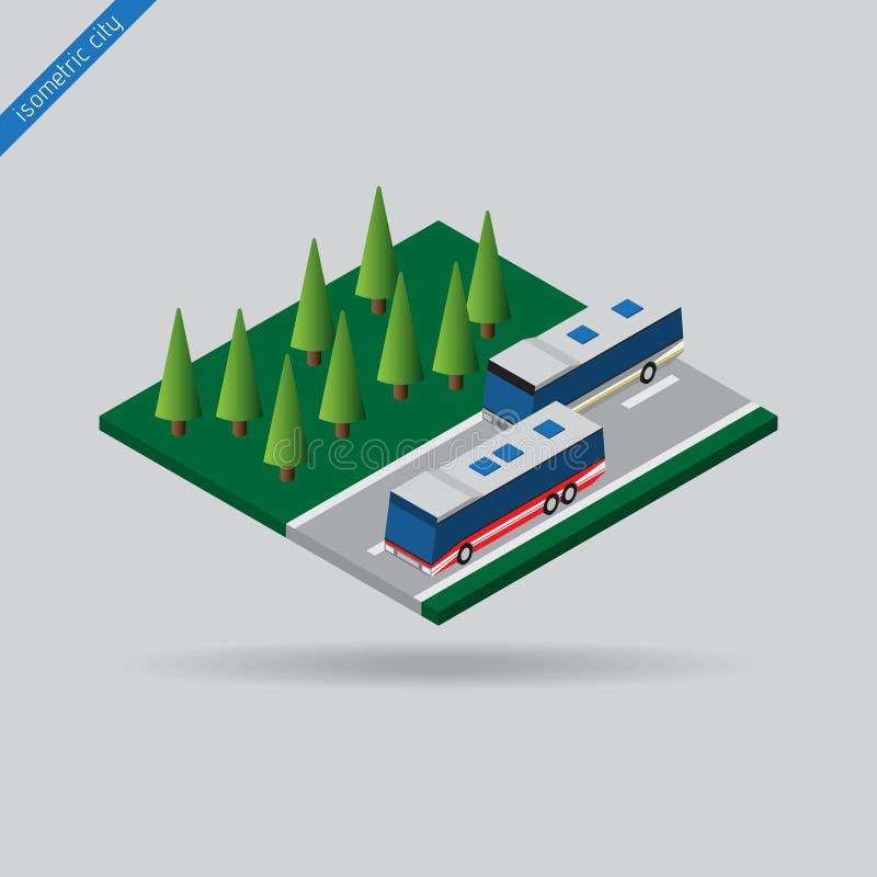 Равновеликий город - 2 шины на дороге и деревьях иллюстрация вектора