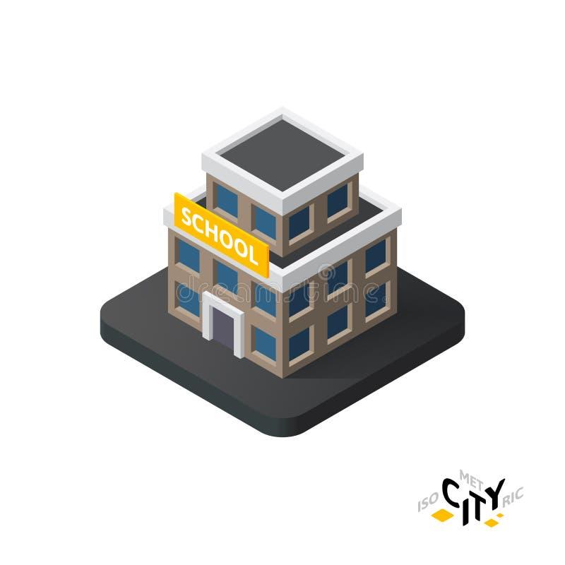 Равновеликий значок школы, строя элемент города infographic, иллюстрация вектора бесплатная иллюстрация