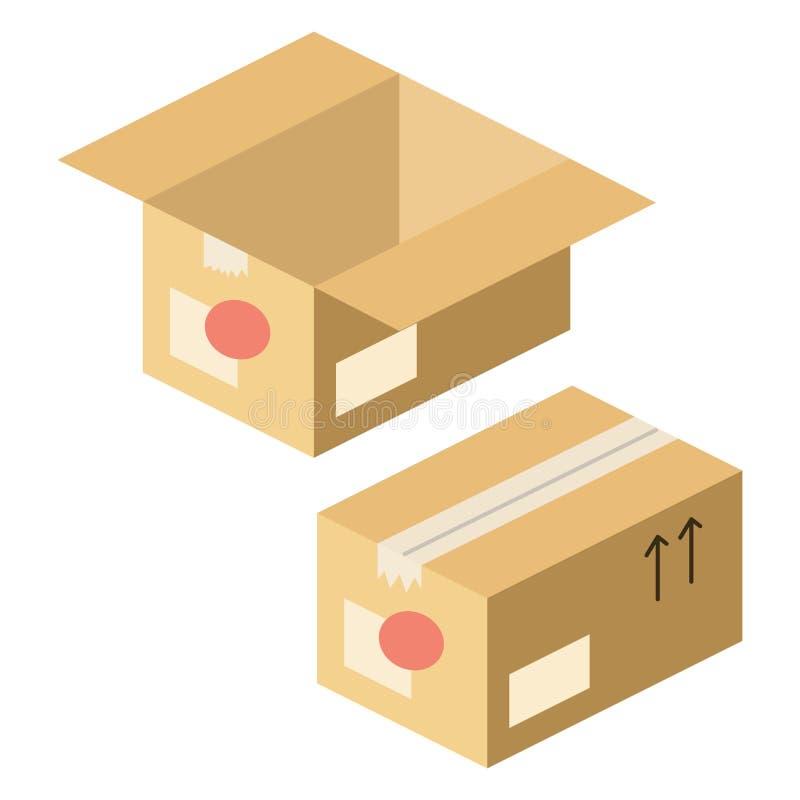 Равновеликий дизайн открытых и закрытых коробок иллюстрация штока