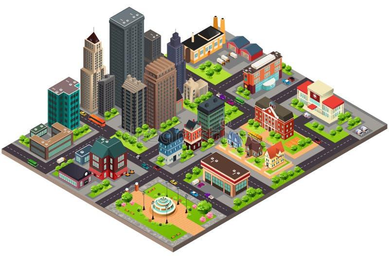 Равновеликий дизайн улиц и зданий города бесплатная иллюстрация