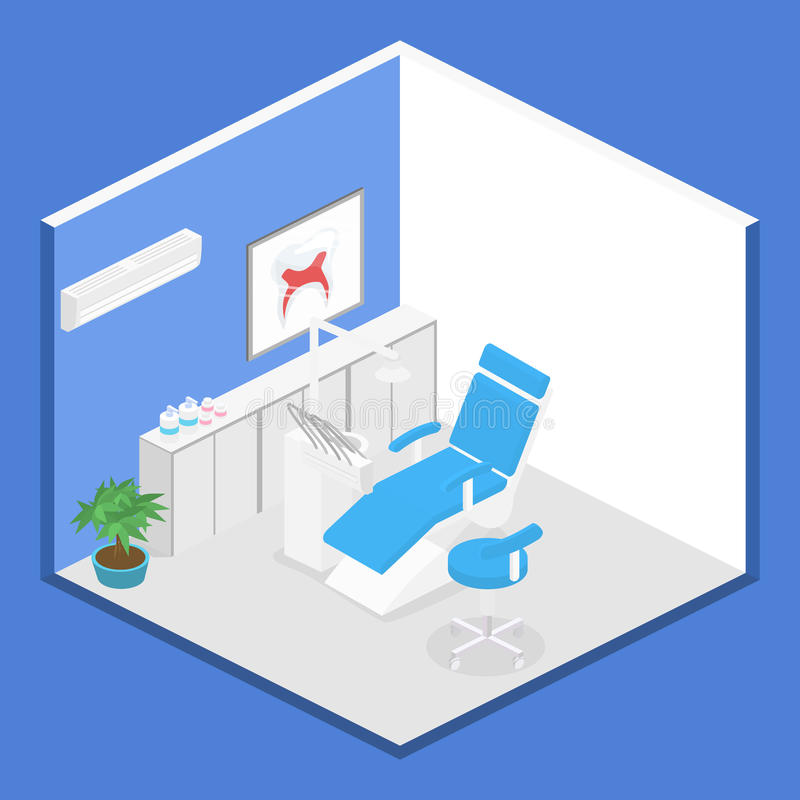 Равновеликий офис дантиста во время пациента приема иллюстрация вектора