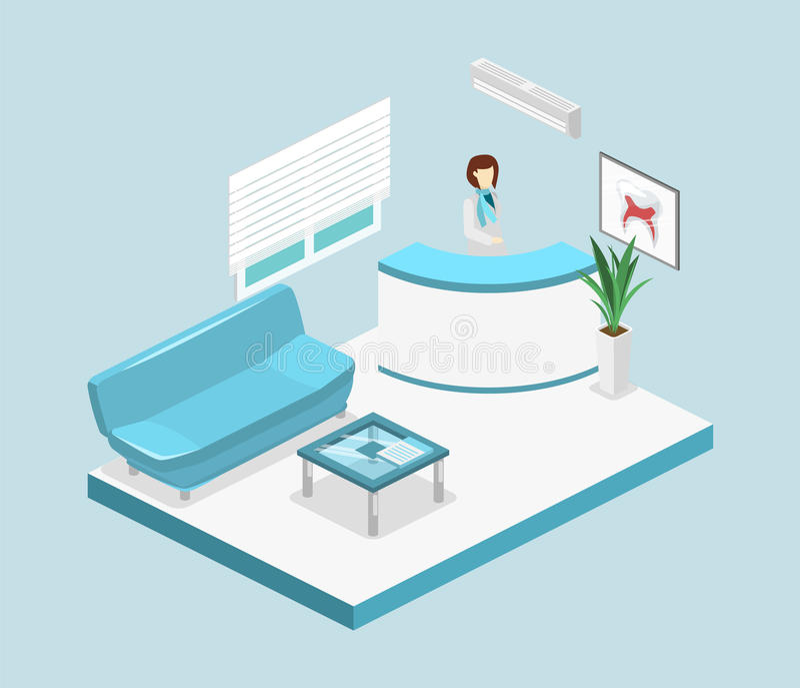 Равновеликий плоский изолированный 3D внутренний зал ожидания зубоврачевания клиника зубоврачебная иллюстрация штока