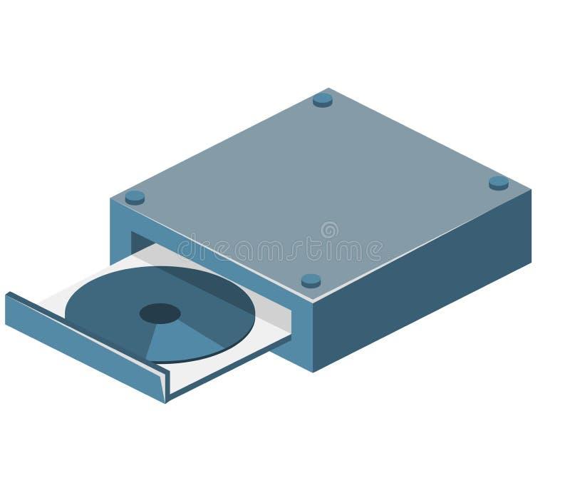 Равновеликий плоский изолированный 3D дисковод компактного диска иллюстрация вектора