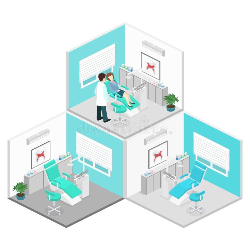 Равновеликий плоский интерьер офиса ` s дантиста бесплатная иллюстрация