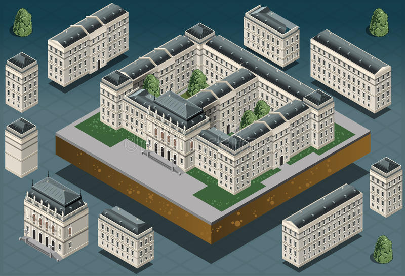 Равновеликое европейское историческое здание иллюстрация штока