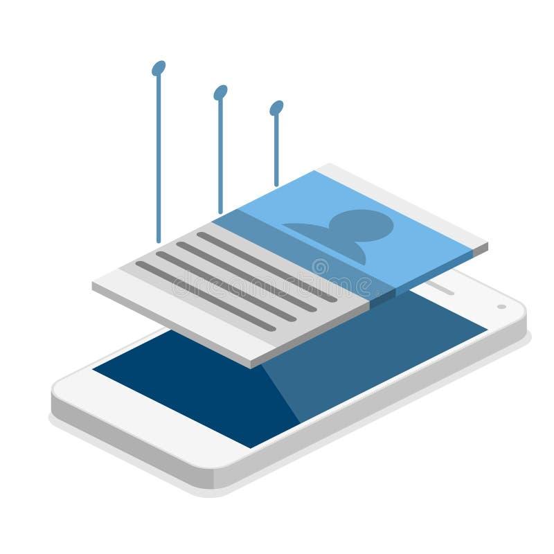 Равновеликое плоское развитие 3D передвижное app бесплатная иллюстрация