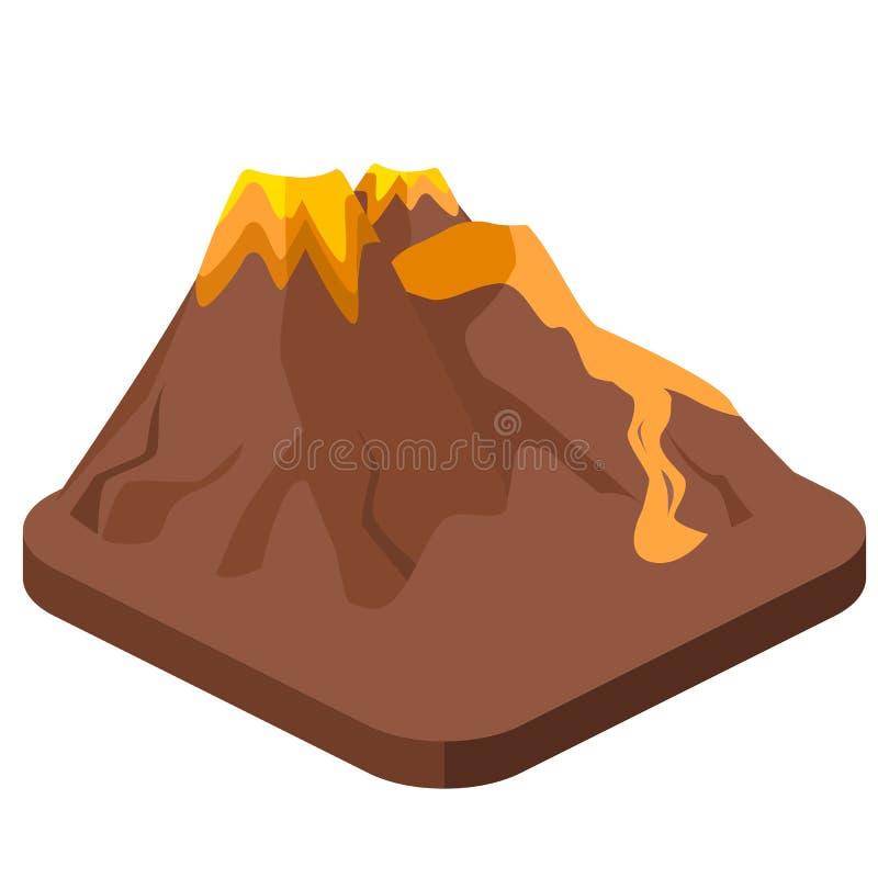 Равновеликое плоское 3D изолировало природу магмы вулкана дуя - вверх бесплатная иллюстрация