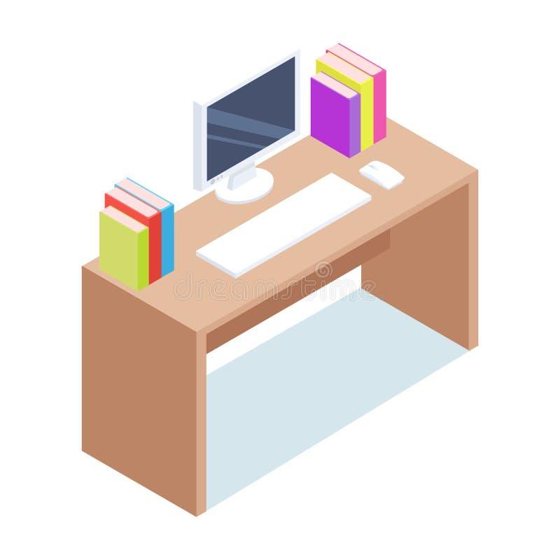 равновелико Настольный компьютер с компьютером и канцелярские товарами иллюстрация вектора