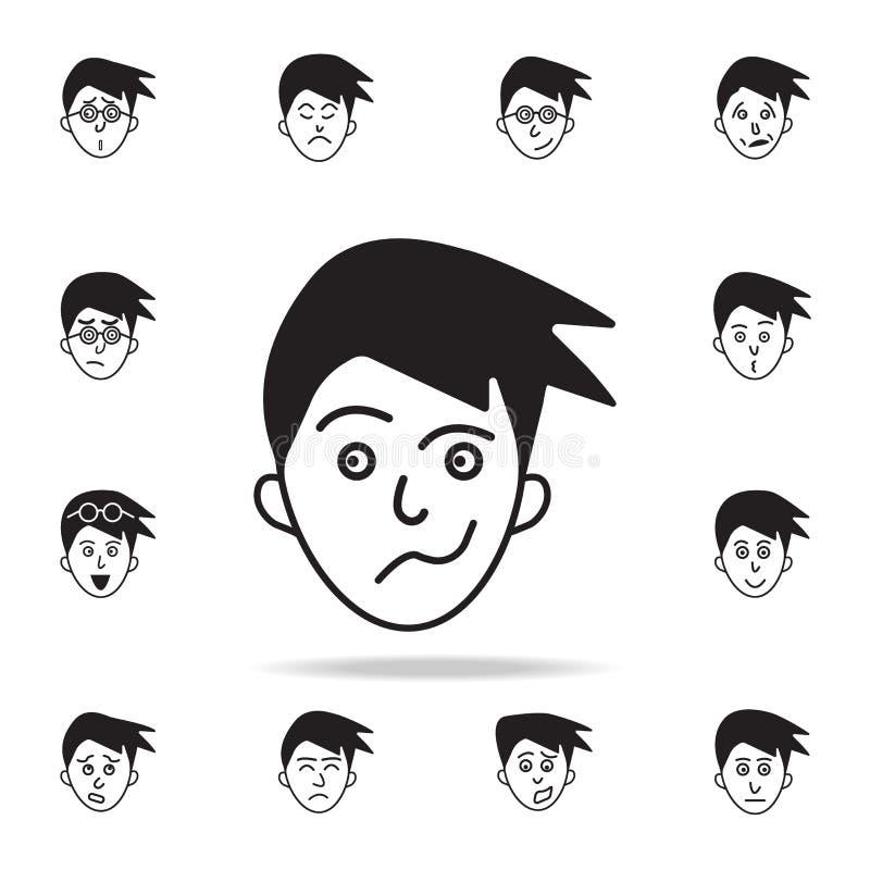 равнодушие на значке стороны Детальный набор лицевых значков эмоций Наградной графический дизайн Один из значков собрания для иллюстрация вектора