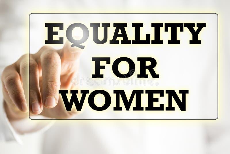 Равность для знака женщины на виртуальном экране стоковое фото rf