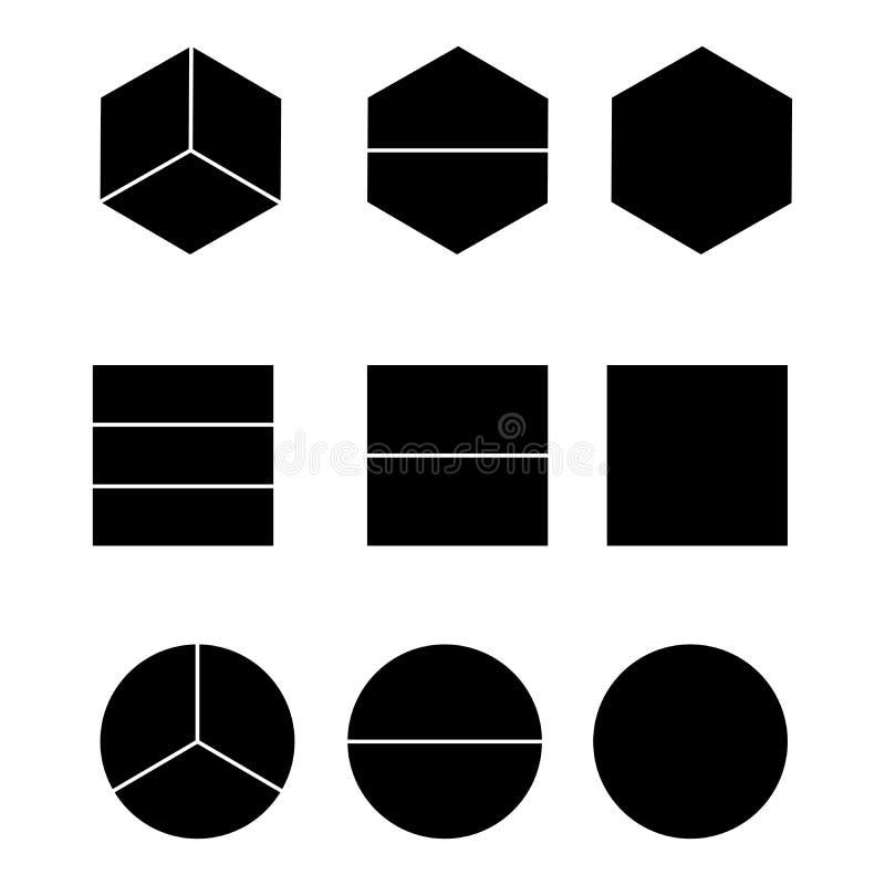 Равные доли и половины изолированные на белом векторе предпосылки иллюстрация штока