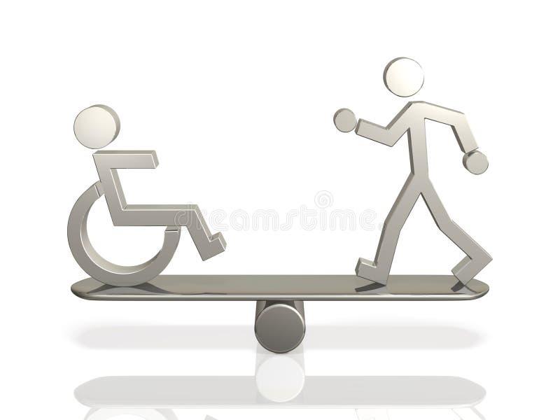 Равные права людей с инвалидностью и способной уплотненной персоны. иллюстрация штока