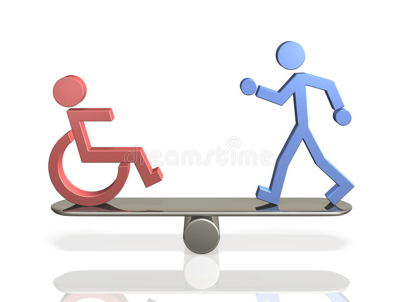 Равные права людей с инвалидностью и способной уплотненной персоны. иллюстрация вектора