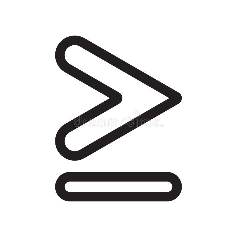 Равный к или больше чем знак и символ вектора значка символа изолированные на белой предпосылке, равны к или больше чем символ иллюстрация вектора