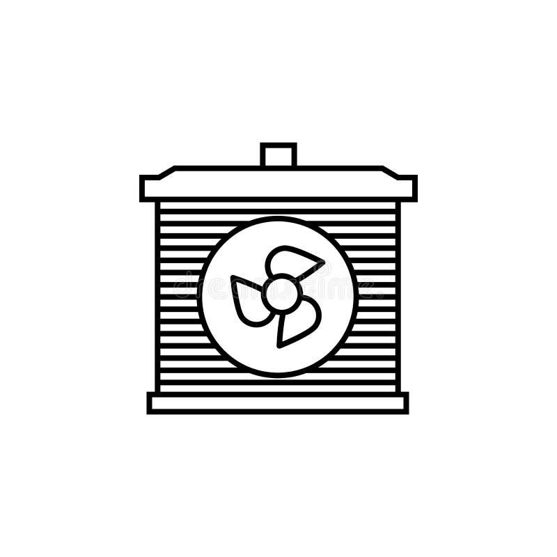 Радиатор, значок плана автомобиля Смогите быть использовано для сети, логотипа, мобильного приложения, UI, UX иллюстрация штока