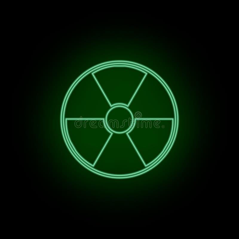 Радиация, значок, опасность, знак, неон Биотехнология и наука, химическая лаборатория Может быть использовать infographic и prese иллюстрация вектора