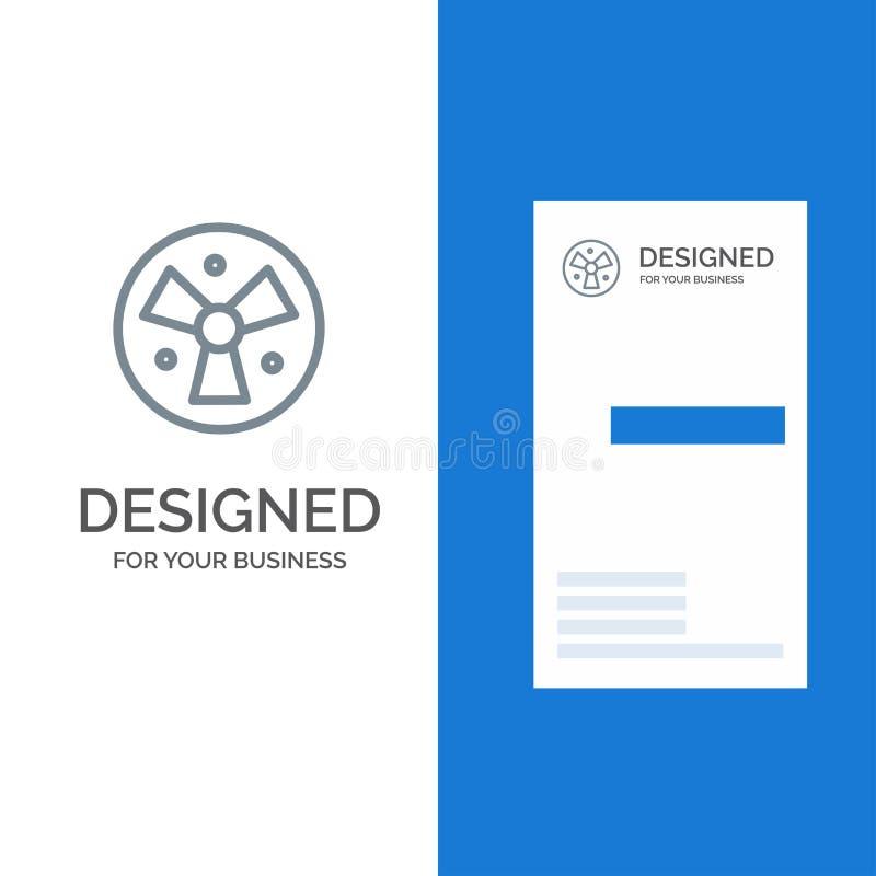 Радиация, предупреждение, дизайн медицинских, вентилятора серые логотипа и шаблон визитной карточки иллюстрация штока