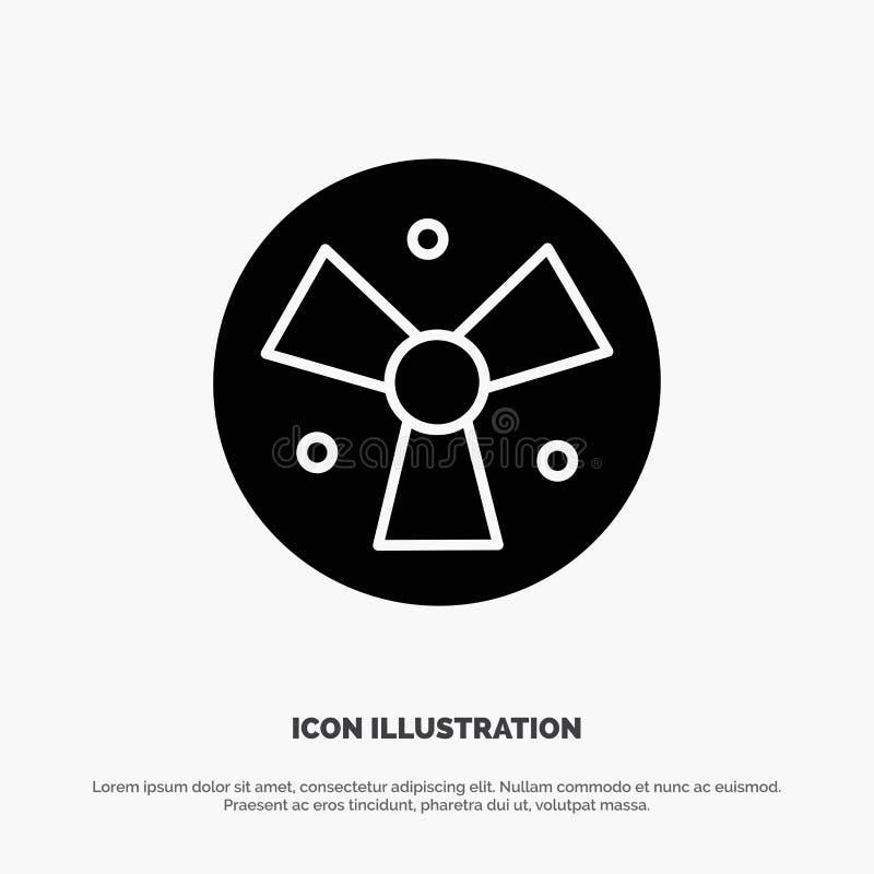 Радиация, предупреждение, медицинское, вектор значка глифа вентилятора твердый иллюстрация штока