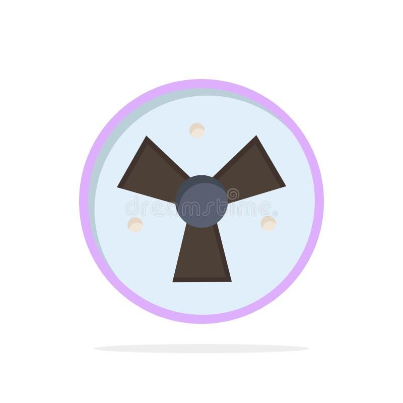 Радиация, предупреждение, медицинское, значок цвета предпосылки круга конспекта вентилятора плоский иллюстрация штока