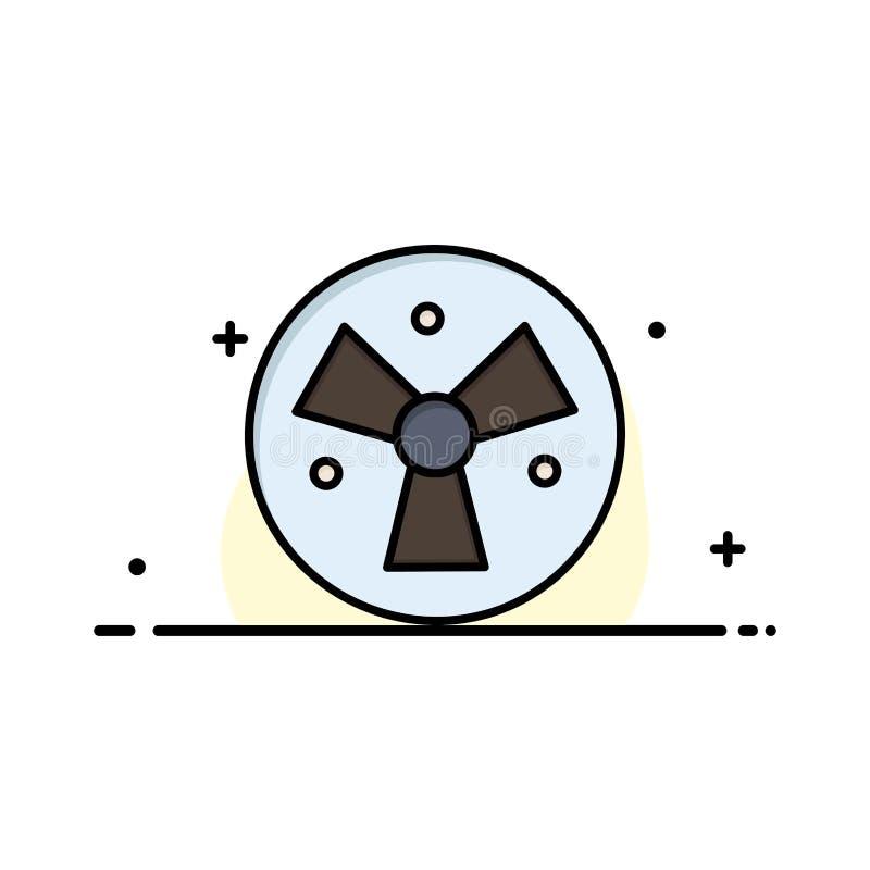 Радиация, предупреждение, медицинское, линия заполненный шаблон дела вентилятора плоская знамени вектора значка иллюстрация вектора